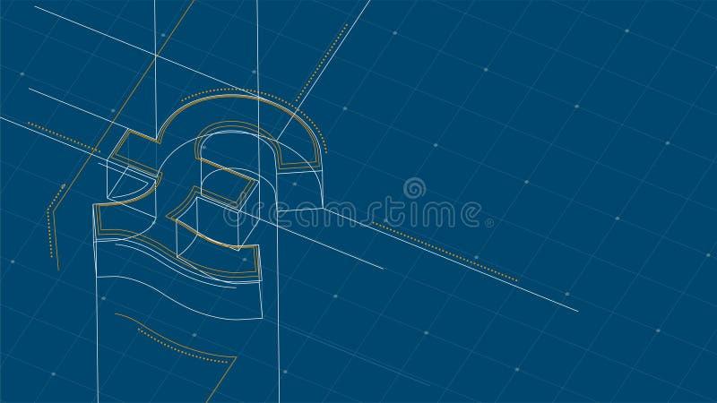 Prick för symbol för valutaGBP pund isometrisk och strecklinje wireframe för ramstrukturmodell, Digital pengarcryptocurrency stock illustrationer