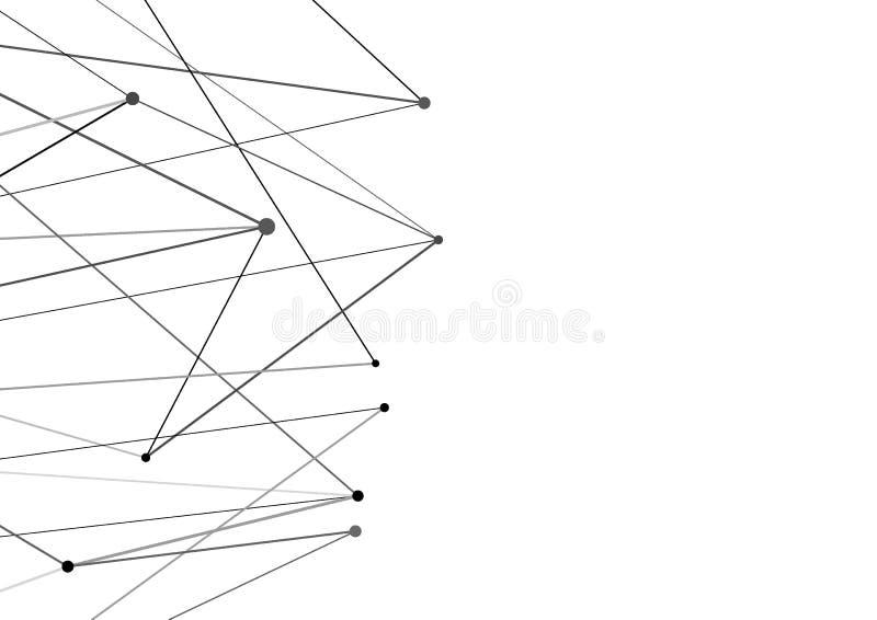 Prick och linjer bakgrund för nätverksanslutning Minimalistic abstra royaltyfri illustrationer