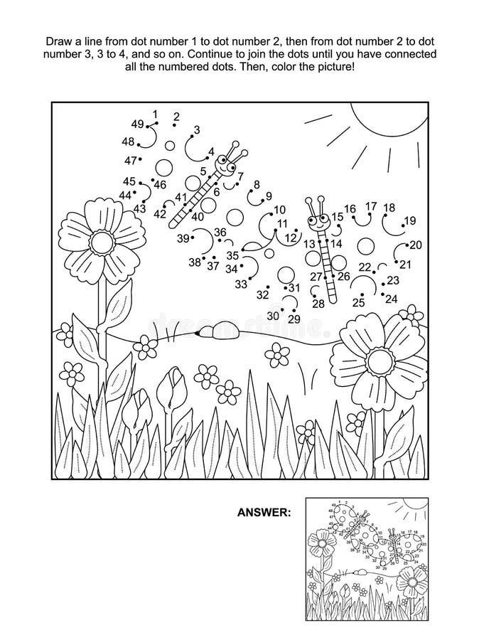 Prick-till-prick aktivitetssida - fjärilar vektor illustrationer