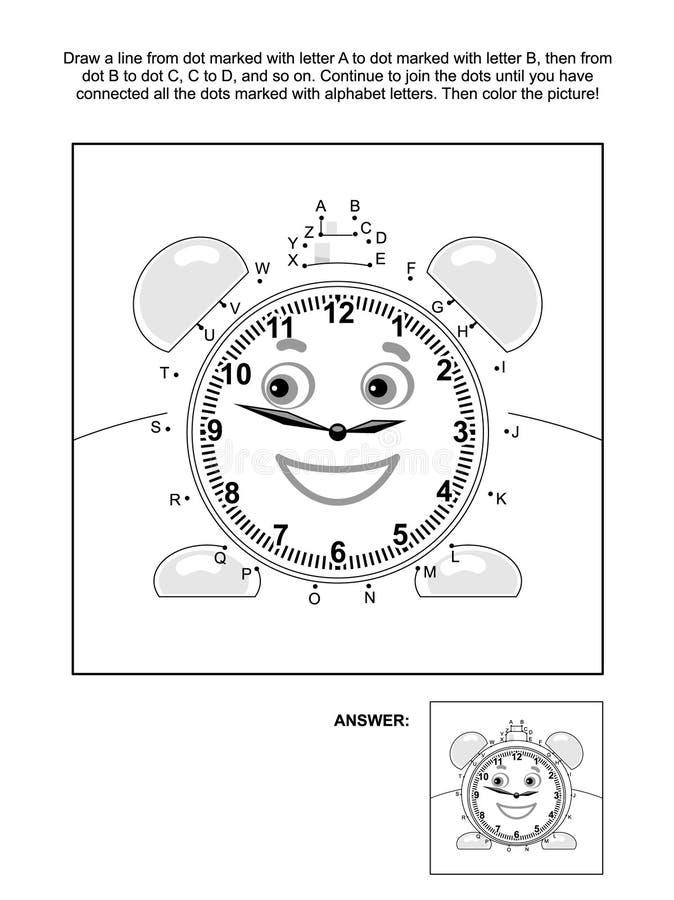 Prick-till-prick och färgläggningsida med ringklockan royaltyfri illustrationer