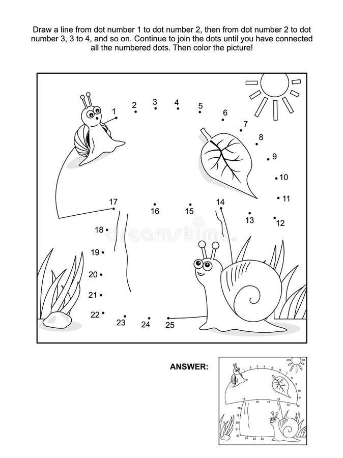 Prick-till-prick och färgläggningsida med sniglar och champinjonen royaltyfri illustrationer