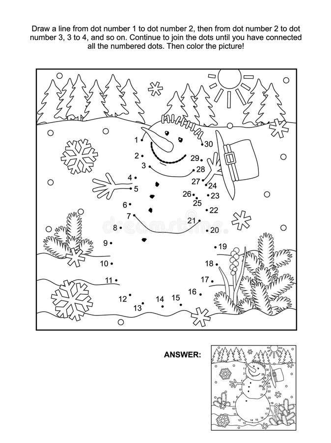 Prick-till-prick och färgläggningsida - snögubbe vektor illustrationer
