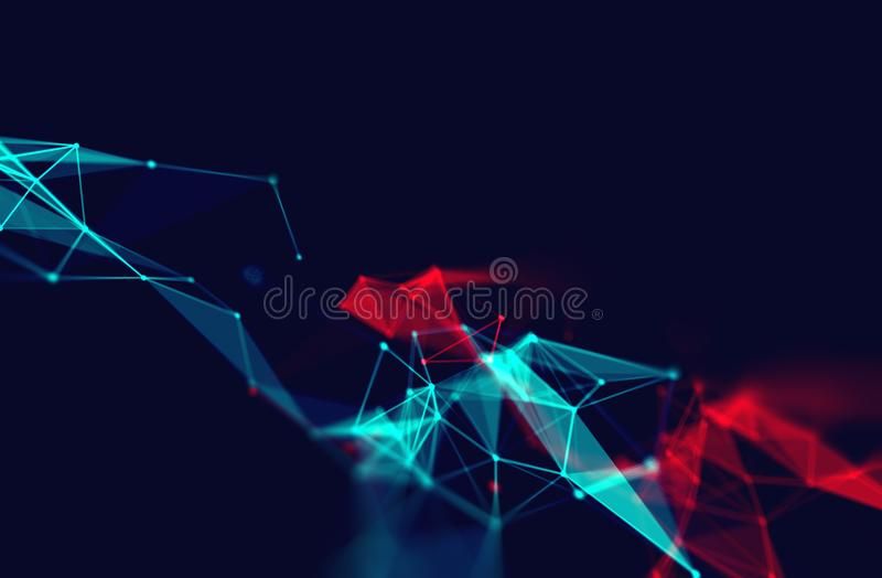 Prickar och linjer anslutning på abstrakt teknologibakgrund stock illustrationer
