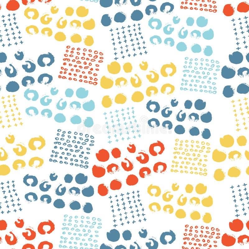 Pricker slår cirklar den färgrika sömlösa modellen för vektorn med borsten, och slaglängder Regnbågefärg på vit bakgrund Hand stock illustrationer