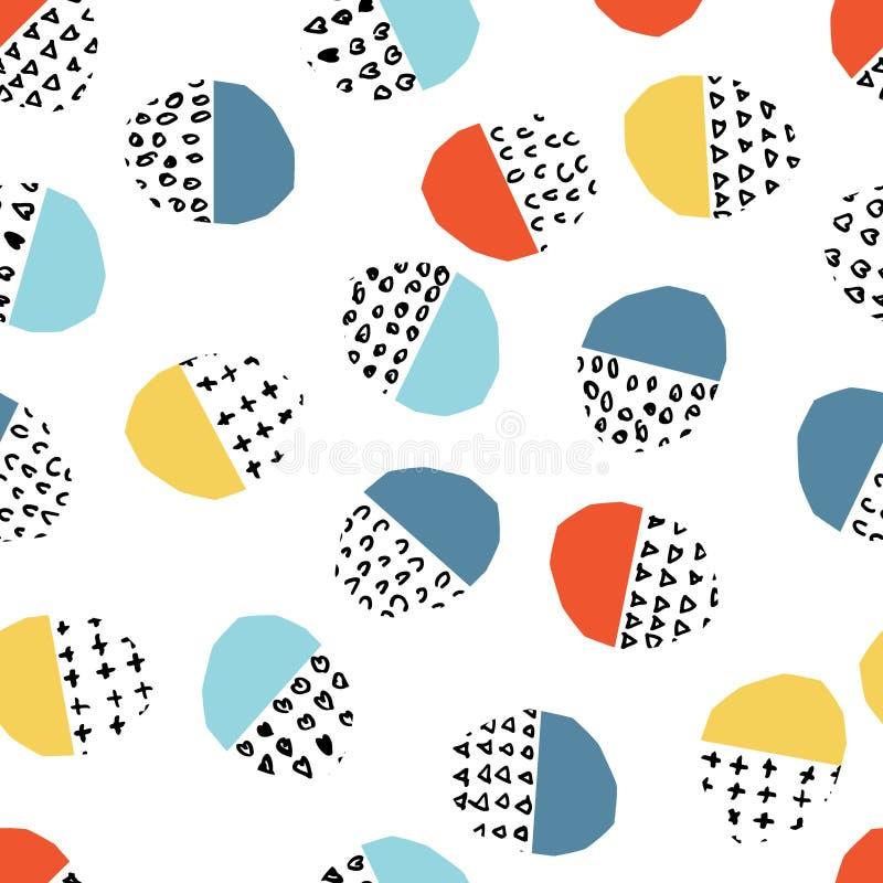 Pricker slår cirklar den färgrika sömlösa modellen för vektorn med borsten, och slaglängder Regnbågefärg på vit bakgrund Hand vektor illustrationer