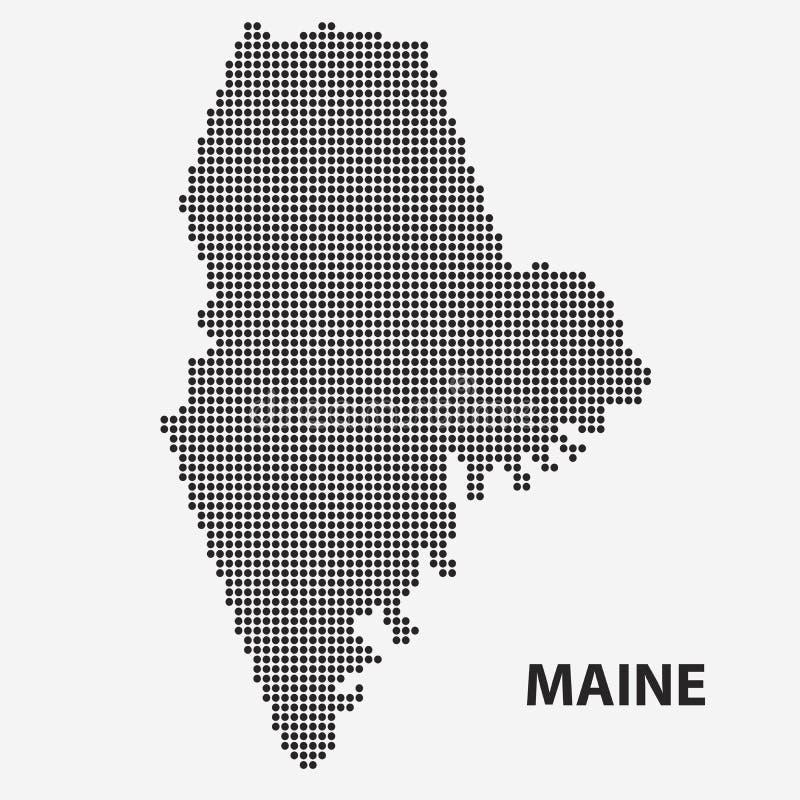Prickig översikt av tillståndet Maine också vektor för coreldrawillustration vektor illustrationer