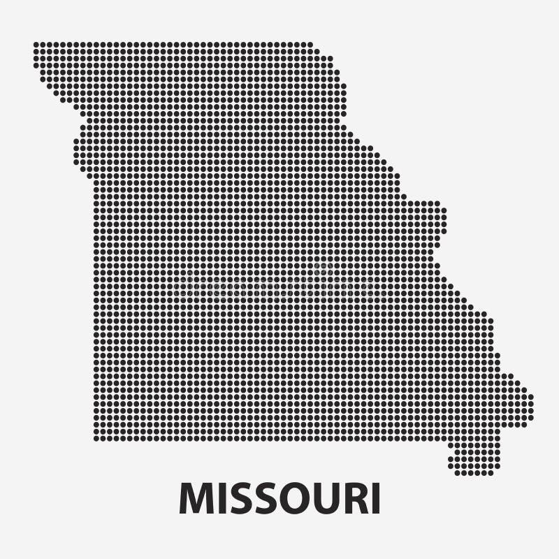 Prickig översikt av tillståndet Missouri också vektor för coreldrawillustration stock illustrationer