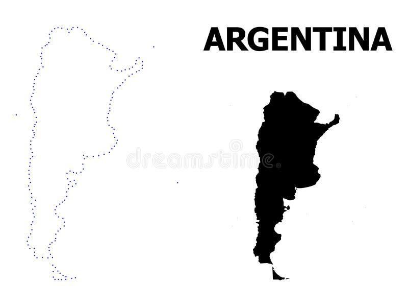 Prickig översikt för vektorkontur av Argentina med överskrift royaltyfri illustrationer