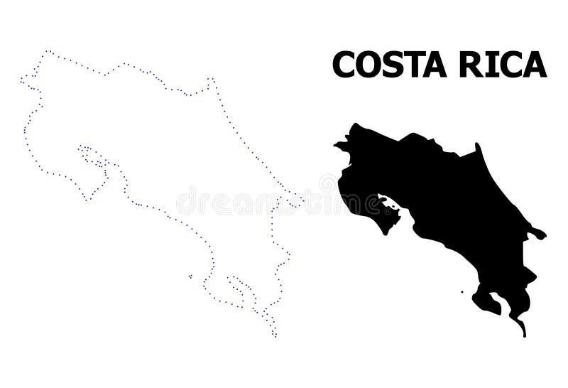 Prickig ?versikt f?r vektorkontur av Costa Rica med namn stock illustrationer