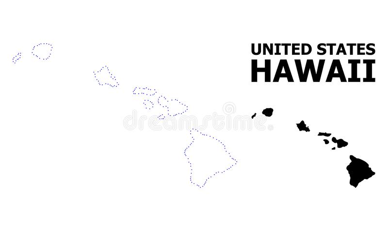 Prickig översikt för vektorkontur av den Hawaii staten med överskrift royaltyfri illustrationer