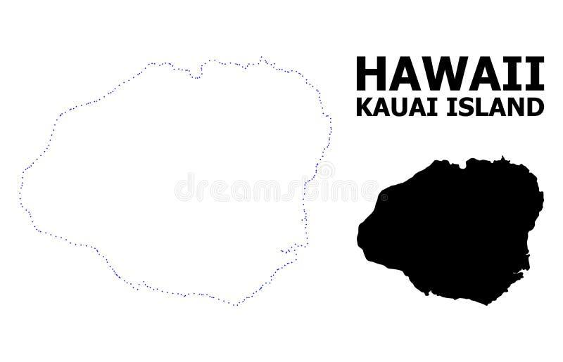 Prickig översikt för vektorkontur av den Kauai ön med överskrift royaltyfri illustrationer