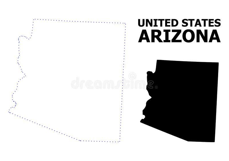 Prickig översikt för vektorkontur av det Arizona tillståndet med namn arkivbild