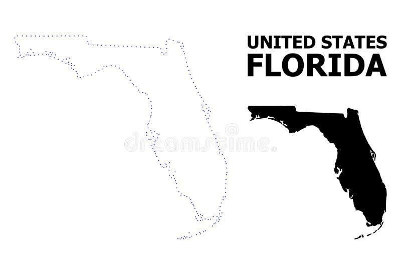 Prickig översikt för vektorkontur av det Florida tillståndet med överskrift stock illustrationer