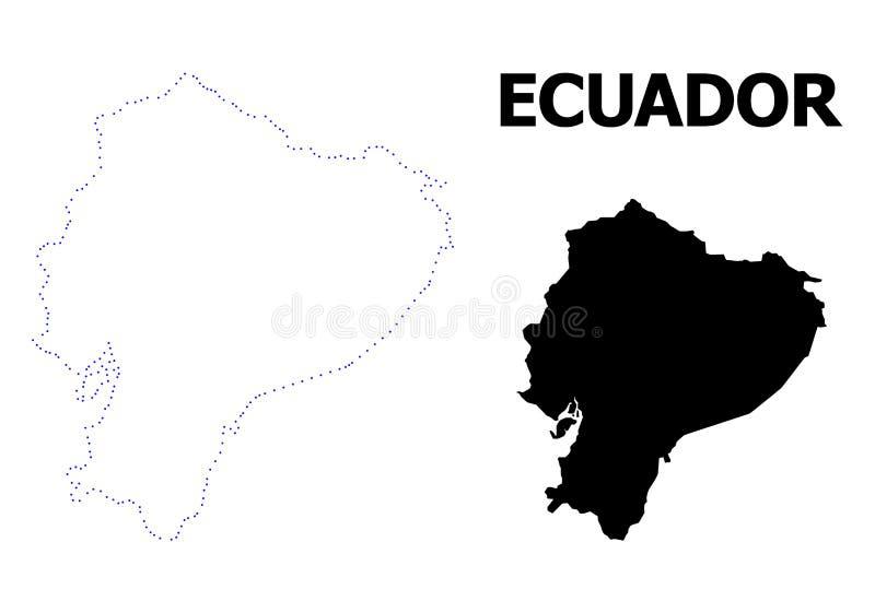 Prickig översikt för vektorkontur av Ecuador med namn vektor illustrationer