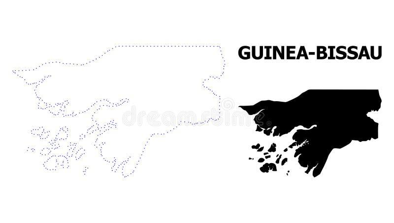 Prickig översikt för vektorkontur av Guinea-Bissau med namn royaltyfri illustrationer