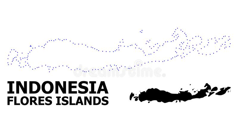 Prickig översikt för vektorkontur av Indonesien - Flores öar med överskrift stock illustrationer
