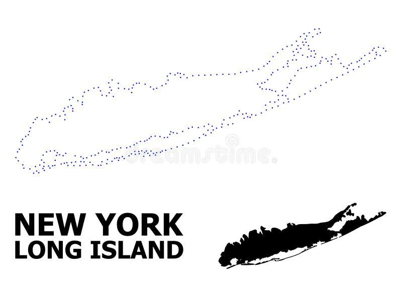 Prickig översikt för vektorkontur av Long Island med namn royaltyfri illustrationer