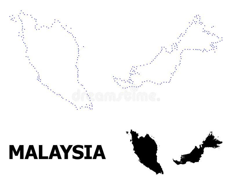 Prickig översikt för vektorkontur av Malaysia med överskrift vektor illustrationer