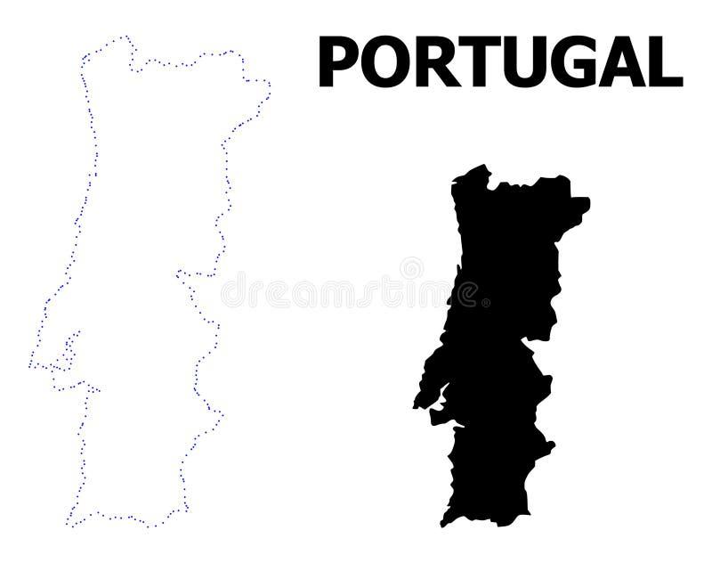 Prickig översikt för vektorkontur av Portugal med överskrift royaltyfri illustrationer