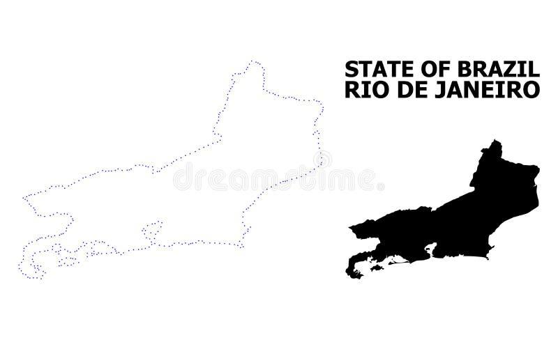 Prickig översikt för vektorkontur av Rio De Janeiro State med överskrift vektor illustrationer