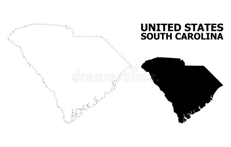 Prickig översikt för vektorkontur av södra Carolina State med överskrift stock illustrationer