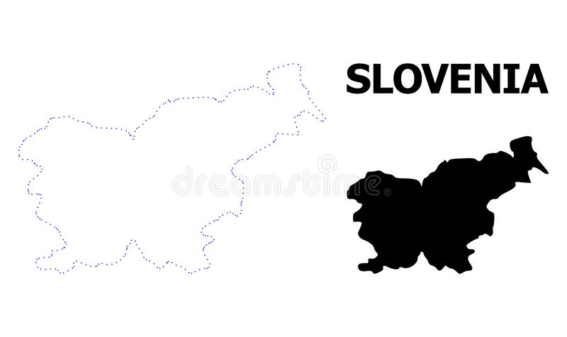 Prickig översikt för vektorkontur av Slovenien med överskrift vektor illustrationer