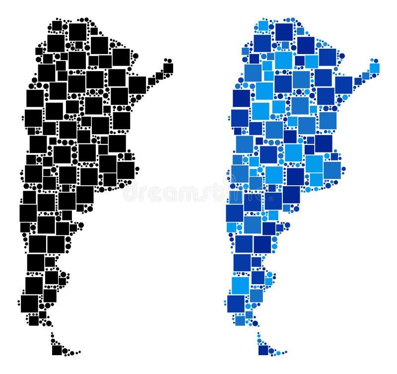 Prickig Argentina översikt med blå version vektor illustrationer