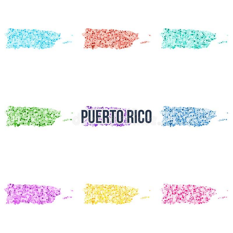 Prickig färgglad översikt för vektor av Puerto Rico stock illustrationer