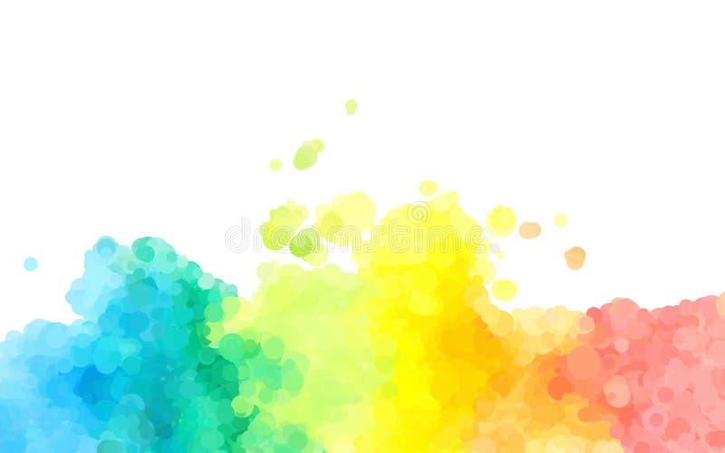 Prickig grafisk design för abstrakt färgrik vattenfärgbakgrund stock illustrationer