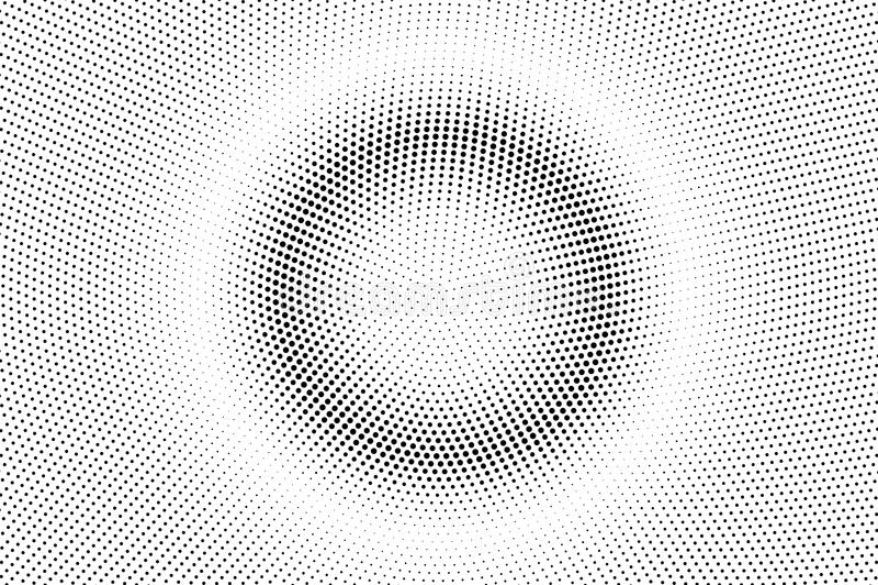 Prickig halvton för svart vit Rastervektorbakgrund Centrerad slät prickig lutning arkivfoton