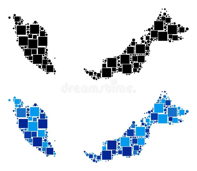 Prickig Malaysia översikt med blå version royaltyfri illustrationer