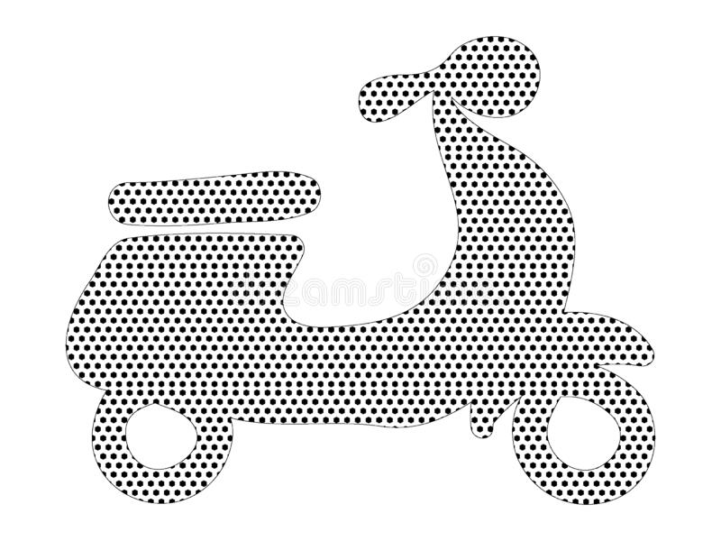 Prickig modellbild av en motorcykel vektor illustrationer