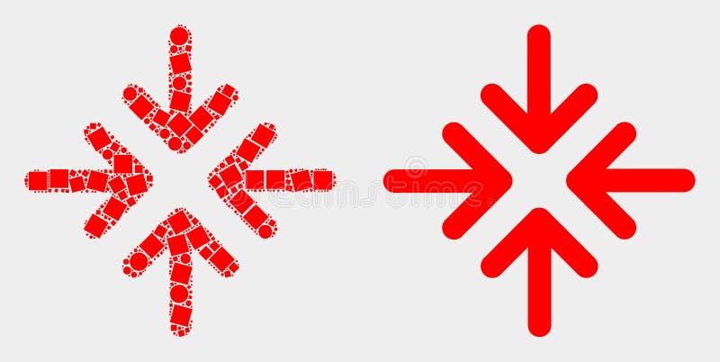 Prickig och plan symbol för pilar för vektormötepunkt vektor illustrationer