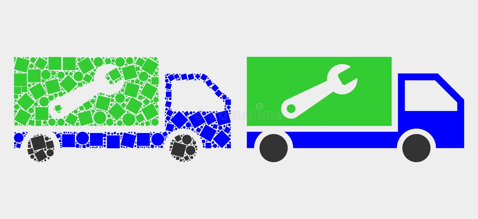 Prickig och plan vektorreparation Lorry Icon vektor illustrationer