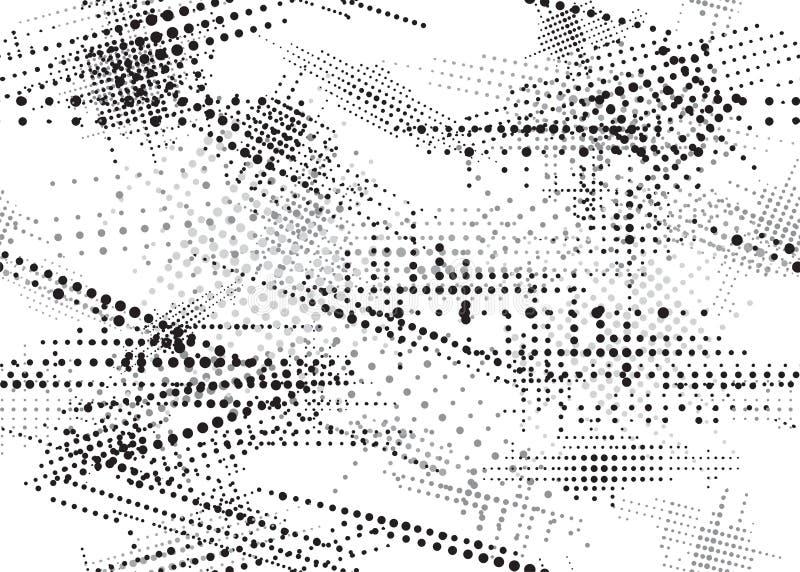 PRICKIG SÖMLÖS MODELL FÖR HALVTON MONOKROM SJASKIG GRUNGEDESIGNTEXTUR stock illustrationer
