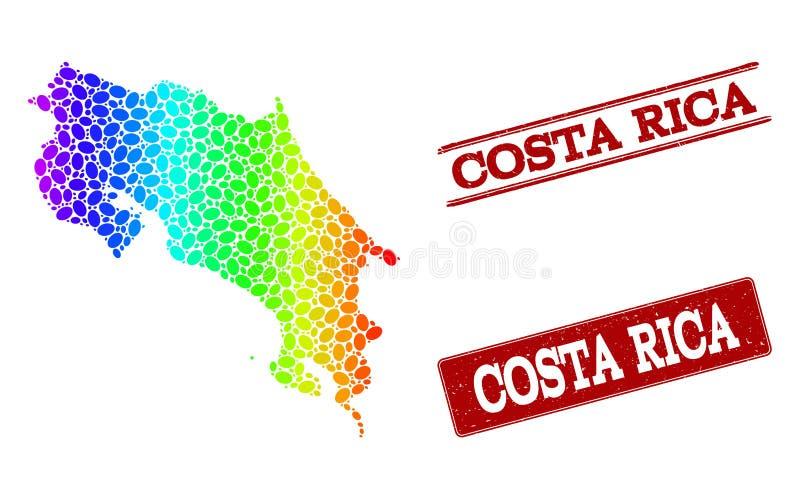 Prickig spektrumöversikt av Costa Rica och Grungestämpelskyddsremsor royaltyfri illustrationer