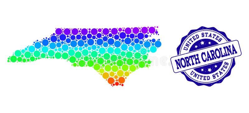 Prickig spektrumöversikt av den norr Carolina State och Grungestämpelskyddsremsan royaltyfri illustrationer