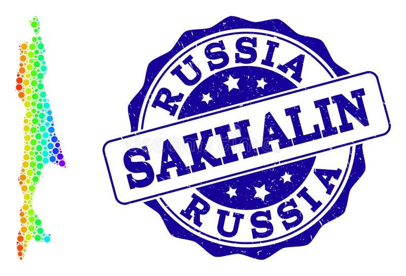 Prickig spektrumöversikt av den Sakhalin ön och Grungestämpelskyddsremsan vektor illustrationer