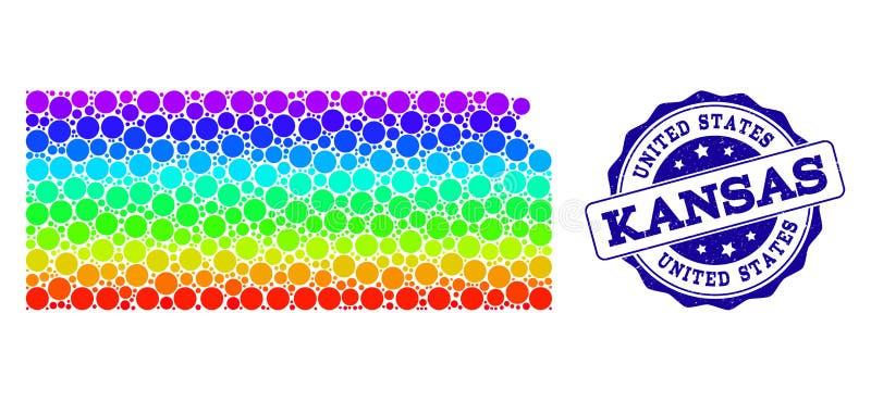 Prickig spektrumöversikt av det Kansas tillståndet och Grungestämpelskyddsremsan royaltyfri illustrationer