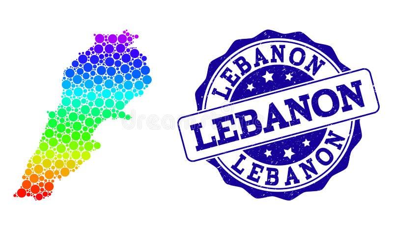 Prickig spektrumöversikt av Libanon och Grungestämpelskyddsremsan vektor illustrationer