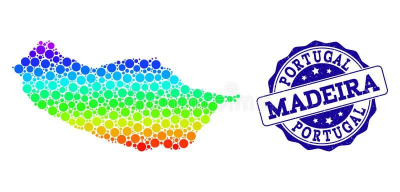Prickig spektrumöversikt av madeiraön och Grungestämpelskyddsremsan stock illustrationer