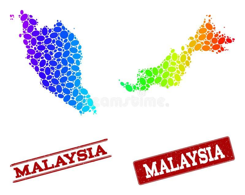 Prickig spektrumöversikt av Malaysia och Grungestämpelskyddsremsor royaltyfri illustrationer