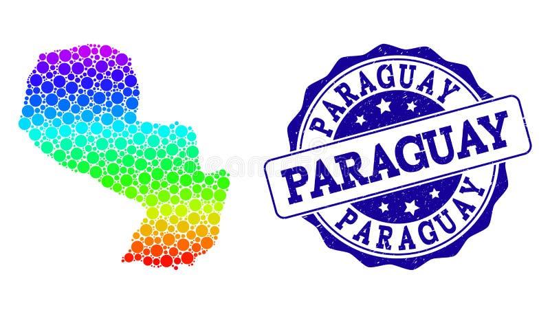 Prickig spektrumöversikt av Paraguay och Grungestämpelskyddsremsan royaltyfri illustrationer