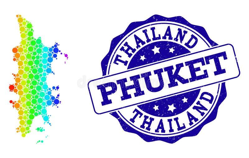 Prickig spektrumöversikt av Phuket och Grungestämpelskyddsremsan vektor illustrationer