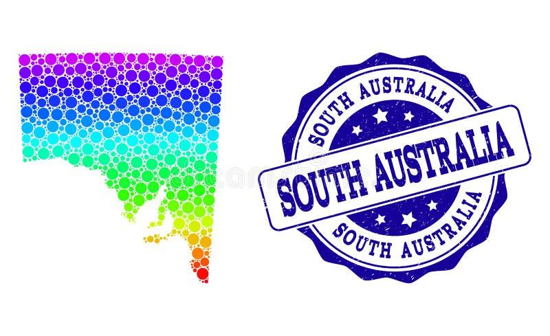 Prickig spektrumöversikt av södra Australien och Grungestämpelskyddsremsan stock illustrationer