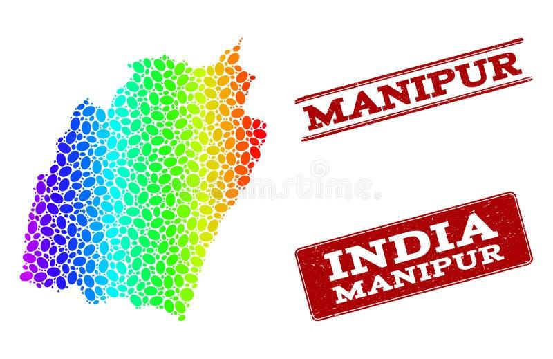 Prickig spektrumöversikt av skyddsremsor för Manipur stat- och Grungestämpel vektor illustrationer