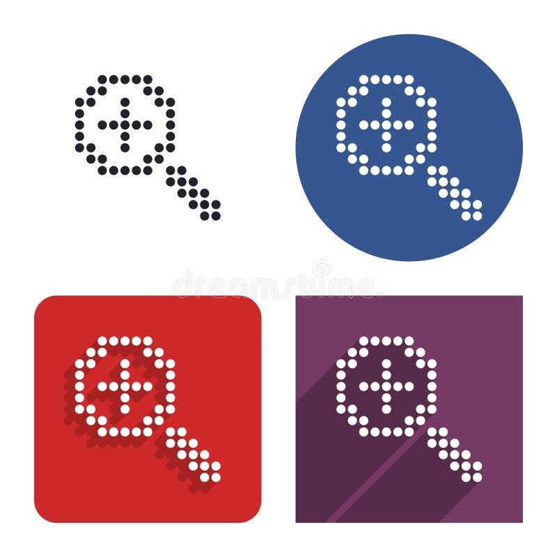 Prickig symbol av förhöjningförstoringsglaset i fyra varianter vektor illustrationer