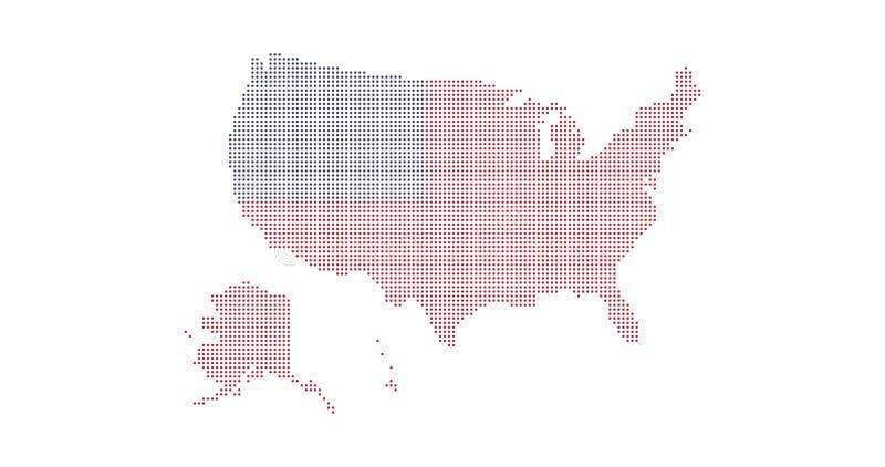 Prickig USA översikt och americal flaggafärger isolerad white f?r bakgrundscogwheel illustration stock illustrationer