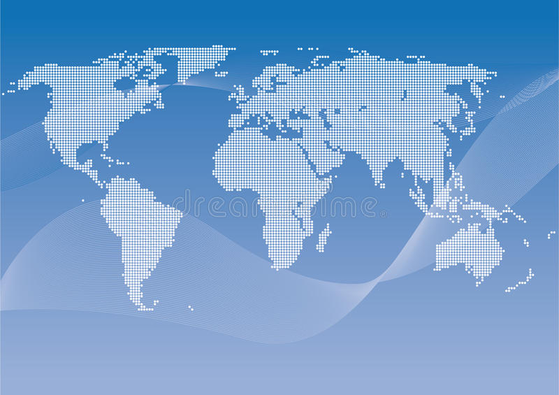 prickig vektorworldmap vektor illustrationer