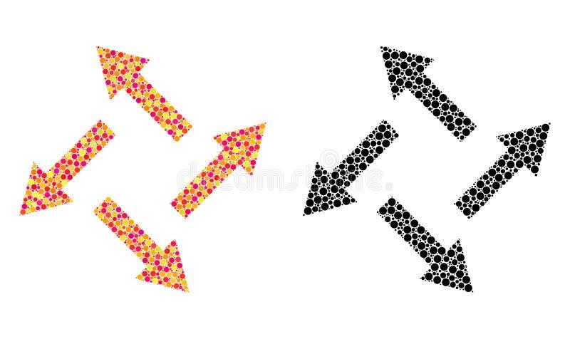 Prickiga centrifugala pilmosaiksymboler vektor illustrationer